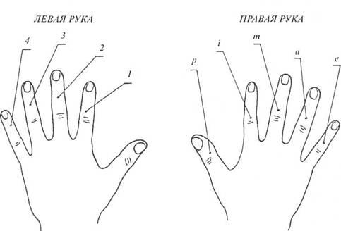 обозначение пальцев для перебора на гитаре
