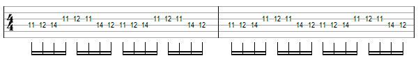 Переменный штрих на нескольких струнах пример 1