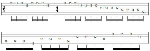Переменный штрих на нескольких струнах пример 10