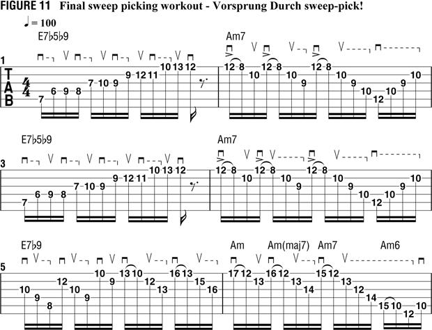 пример 10 для тренировки свипа на гитаре
