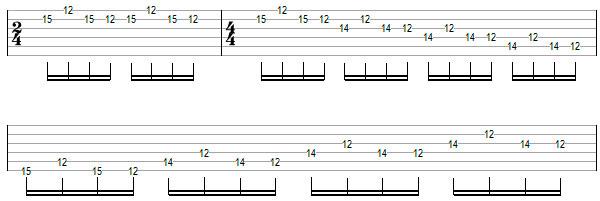 Переменный штрих на нескольких струнах пример 11