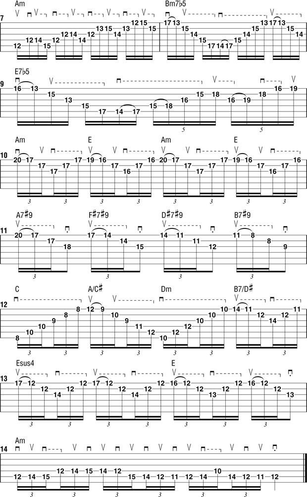 пример 11 для тренировки свипа на гитаре