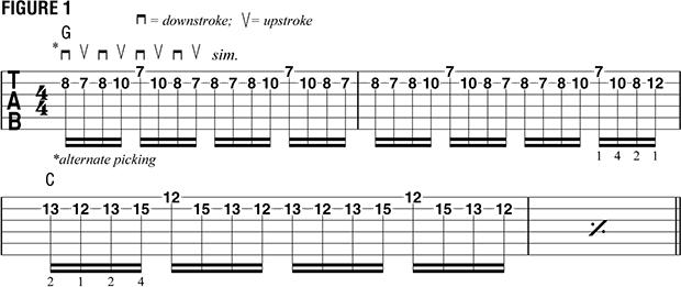 Переменный штрих на нескольких струнах пример 12