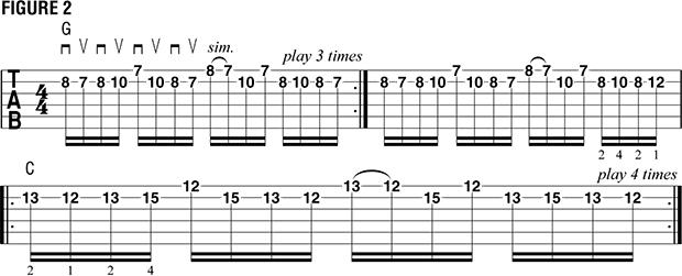 Переменный штрих на нескольких струнах пример 13