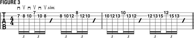 Переменный штрих на нескольких струнах пример 14