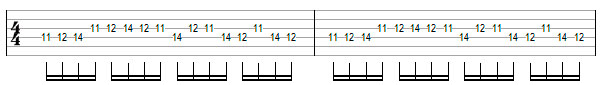 Переменный штрих на нескольких струнах пример 2