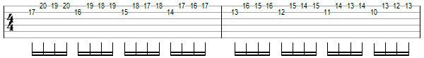 Переменный штрих на нескольких струнах пример 4