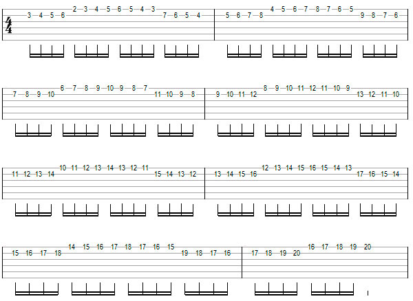 Переменный штрих на нескольких струнах пример 5