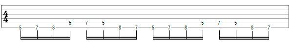 Переменный штрих на нескольких струнах пример 6