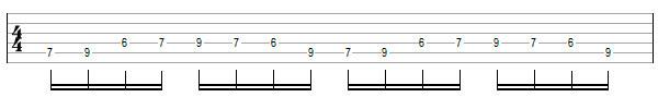 Переменный штрих на нескольких струнах пример 7