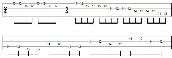 Переменный штрих на нескольких струнах пример 8