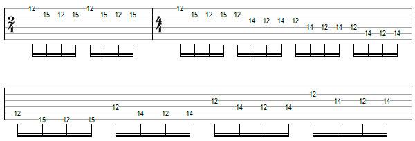 Переменный штрих на нескольких струнах пример 9