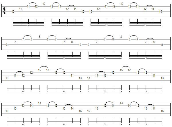 упражнение 13 для игры свипом на гитаре