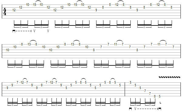 упражнение 5 для игры свипом на гитаре