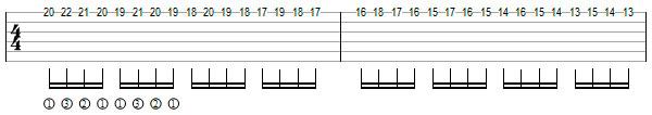 упражнение 6 на переменный штрих на гитаре