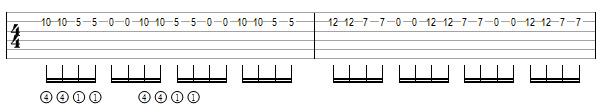 упражнение 7 на переменный штрих на гитаре