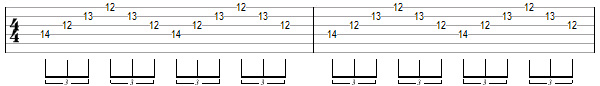 упражнение 9 для игры свипом на гитаре