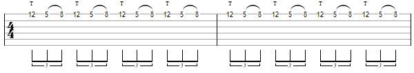 упражнение 1 для теппинга на гитаре